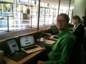 ICCA Social Media Executive Raphael Kamp showing off his gear at the Social Media Desk at #icca11