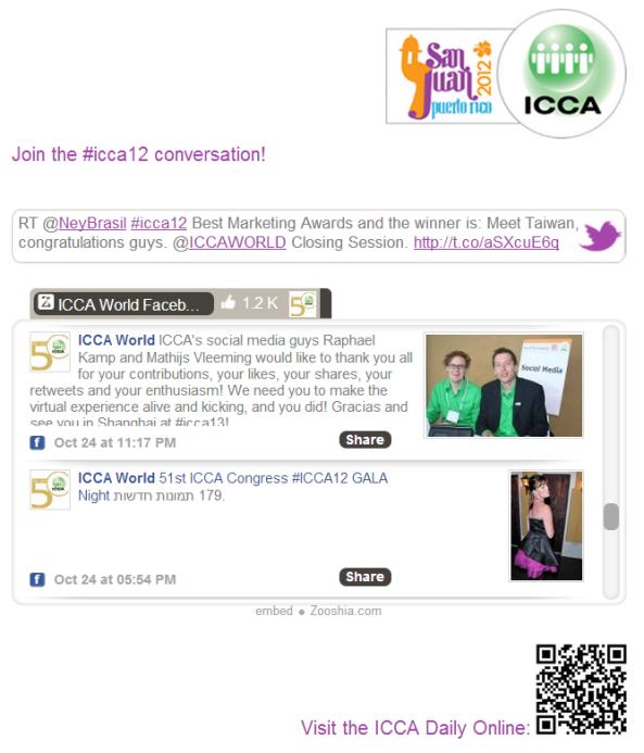 Social media screens at #ICCA12