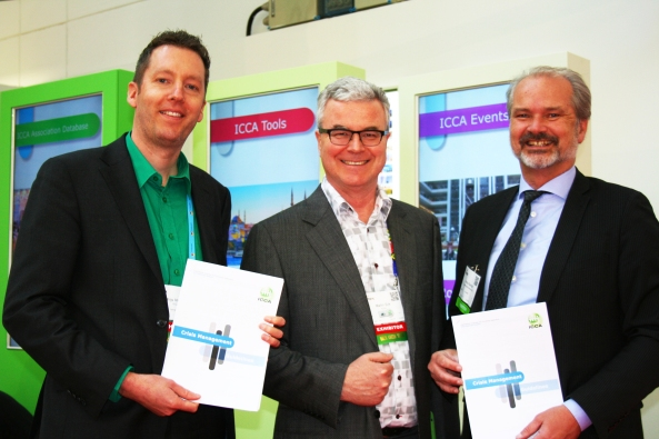 Caption: (fltr) Mathijs Vleeming, Communication Strategist of ICCA, Martin Sirk, CEO of ICCA and Hans Kanold, CEO of Safehotels launch the new Crisis Management Guidelines document at IMEX in Frankfurt.